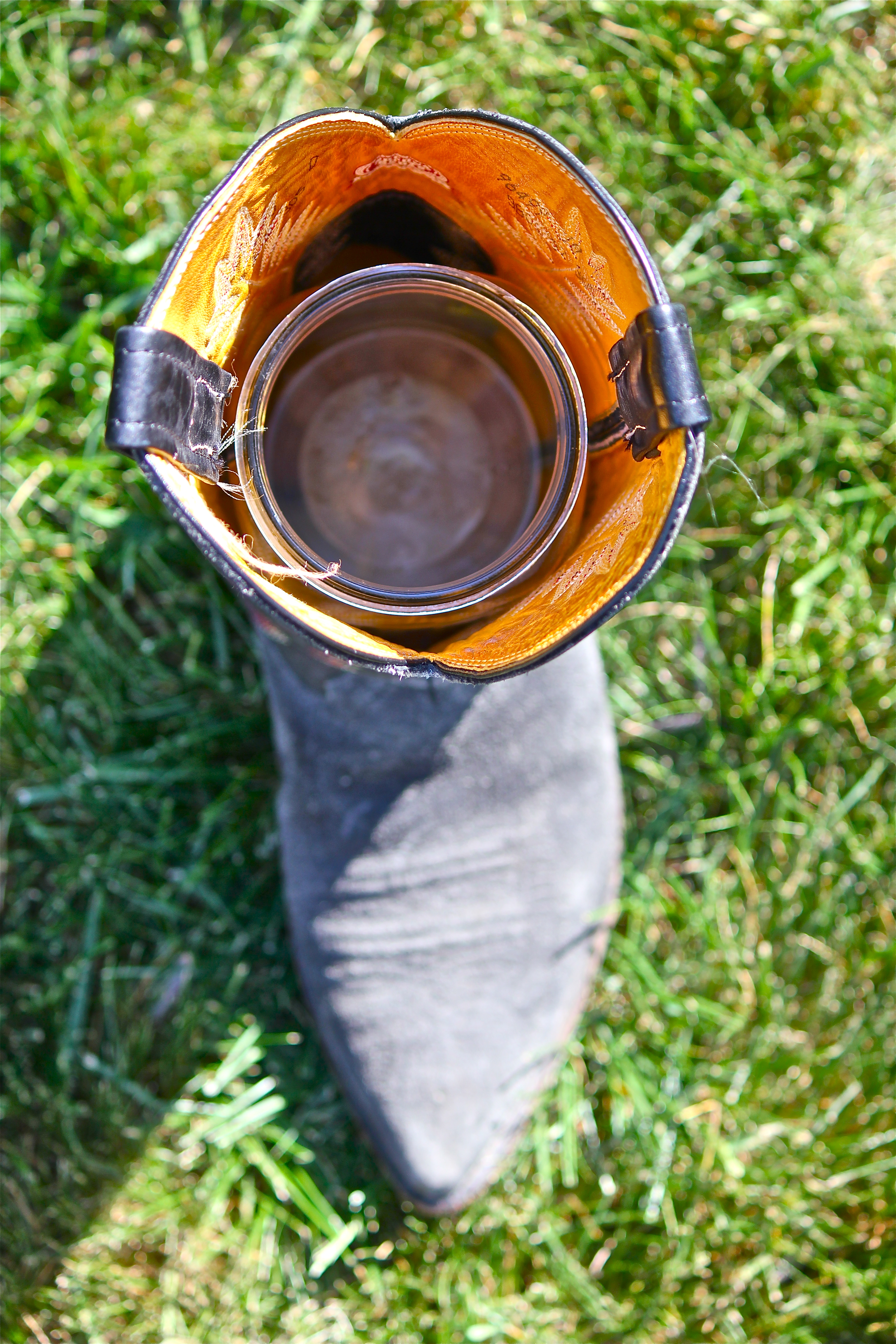 Cowboy boot wish i were a housewife glass jar or vase inside a cowboy boot image image floridaeventfo Images